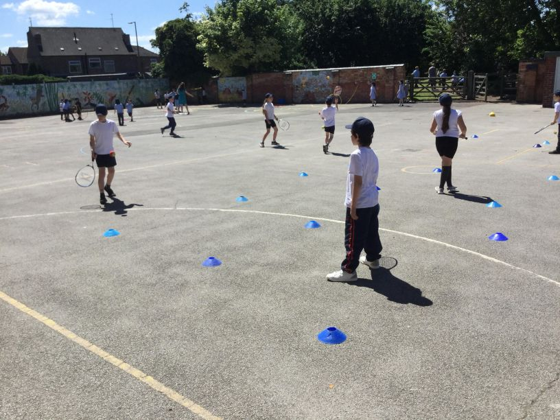 In year 4 we have been making the most of this fabulous summer weather by developing our Tennis skills.....